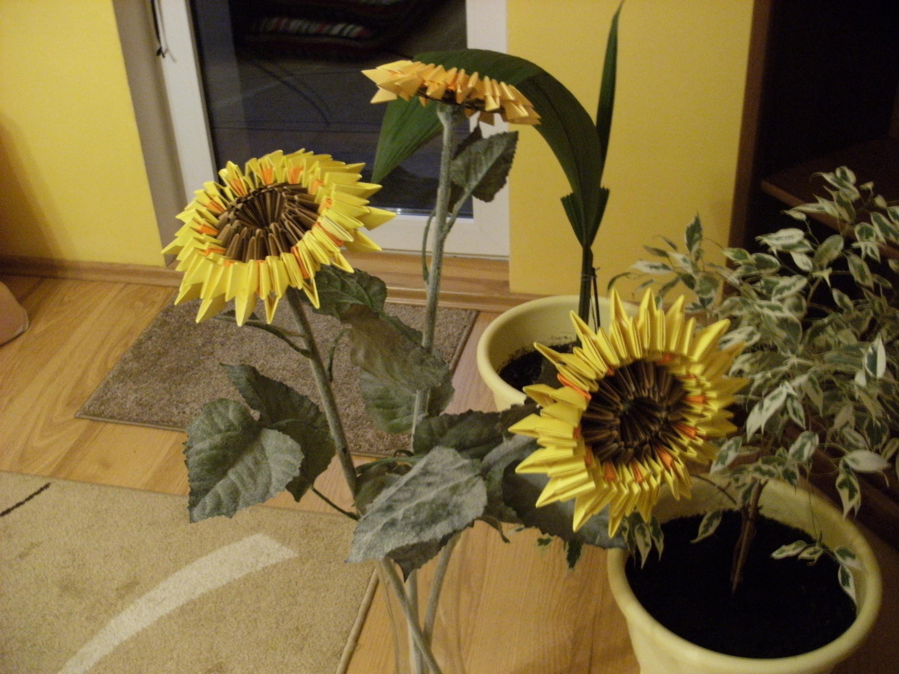 Origami, 3D origami - SUNFLOWER - how to make instruction ... - photo#37