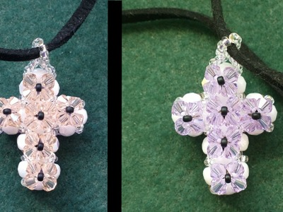 Beading4perfectionists : Double sided Cross pendant made with beading tutorial