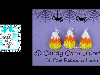 Craft Life 3D Mini Candy Corn Charm Tutorial on One Rainbow Loom ~ Halloween