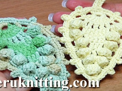 Crochet Leaf With Popcorn Stitches Around How to Tutorial 17