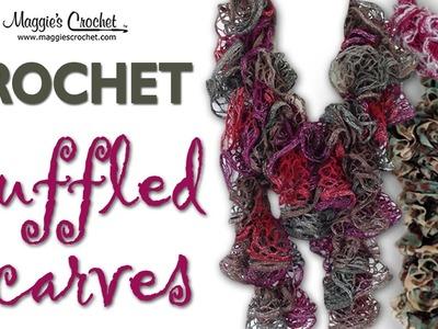 Crochet Ruffled Scarf Mary Maxim Metallic Fabulous Yarn - Right Handed