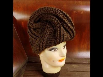 DEITRA Unique Crochet Turban Hat in Brown