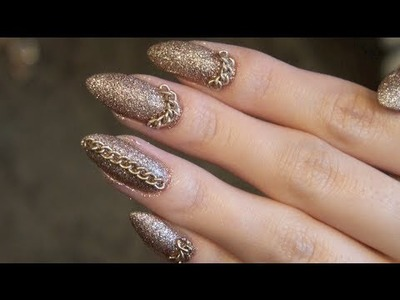 DIY Stiletto Nail Tutorial: Glitter & Chains (Stiletto nails, Cat Claws, Claw Nails)