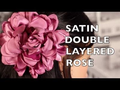 Fabric Hair Flower Tutorial | Satin Double Ruffled Rose | DIY