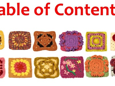 Granny Square Crochet Table of Contents by Crochet Geek