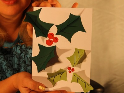 How to make a Pop-up Holly Christmas Card - Children's Art and Craft Project