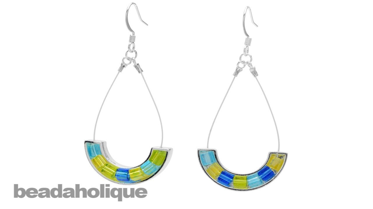 How to Make Cube Bead Earrings with Beading Wire and Curved Katiedids