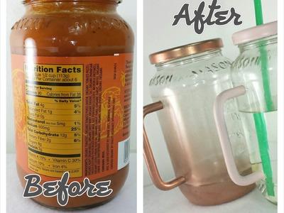How to turn a sauce jar into a Mason Mug DIY reduce reuse recycle Mason jar