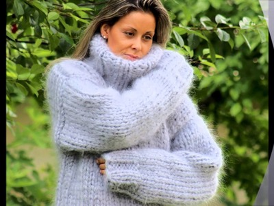 New 12 strands hand knitted mohair sweater turtleneck gray by EXTRAVAGANTZA