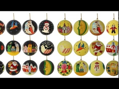 Ornaments Christmas Decor Holiday Handmade Indian Paper Mache Balls