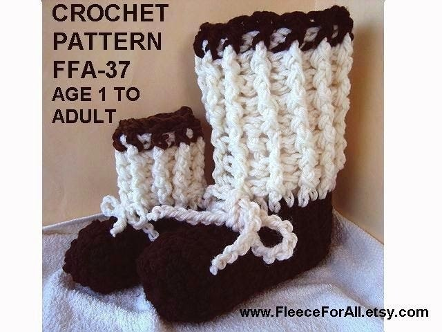 RIB CUFF BOOT SLIPPERS, crochet pattern, FP AND BP double crochet demonstrated