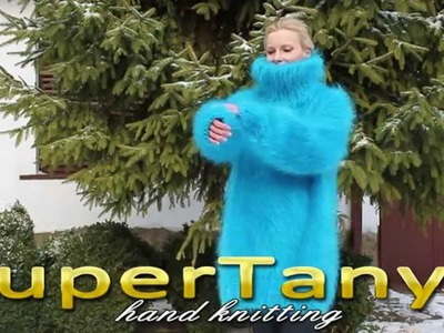 12.12.2012 Hand knitted aqua blue very soft and fuzzy turtleneck sweater by SuperTanya