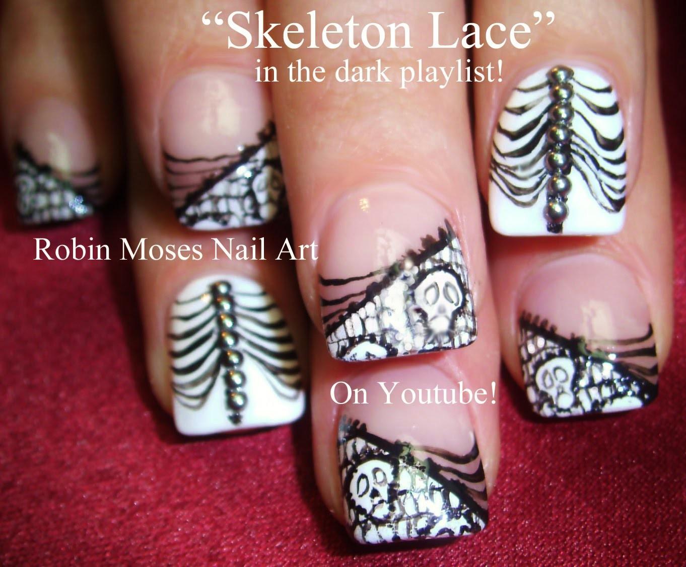 2 Nail Art Tutorials | DIY Halloween Nails | Skeleton Lace Nail Design & Blinged out Ribs
