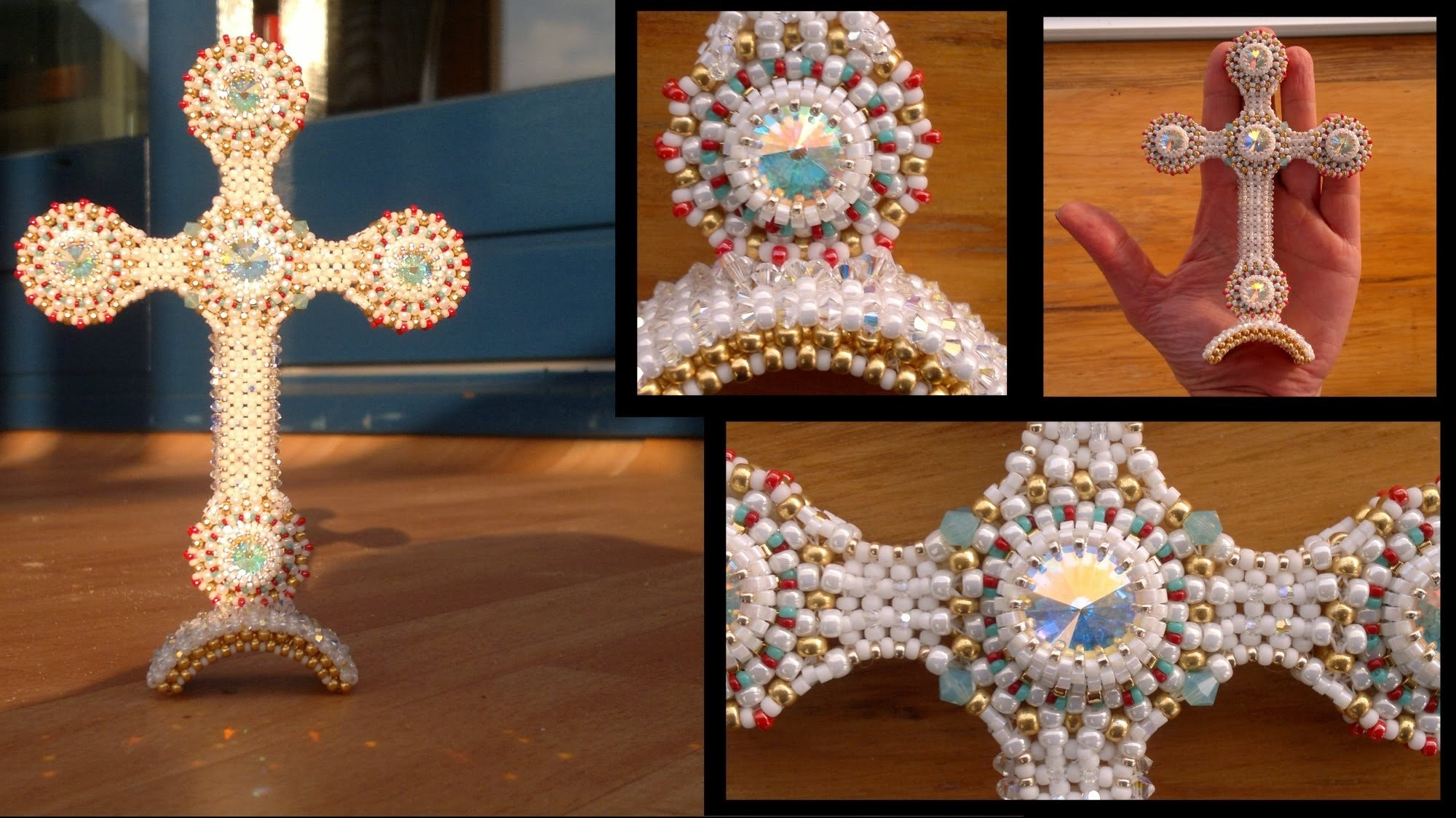 Beading4perfectionists : Designing process of a cross part 3: Attaching the Arch beading tutorial