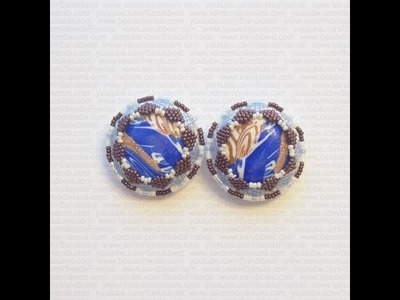 BeadsFriends: Beaded Earrings Made With Beads, Swarovski Crystal And Polymer Clay Cabochon