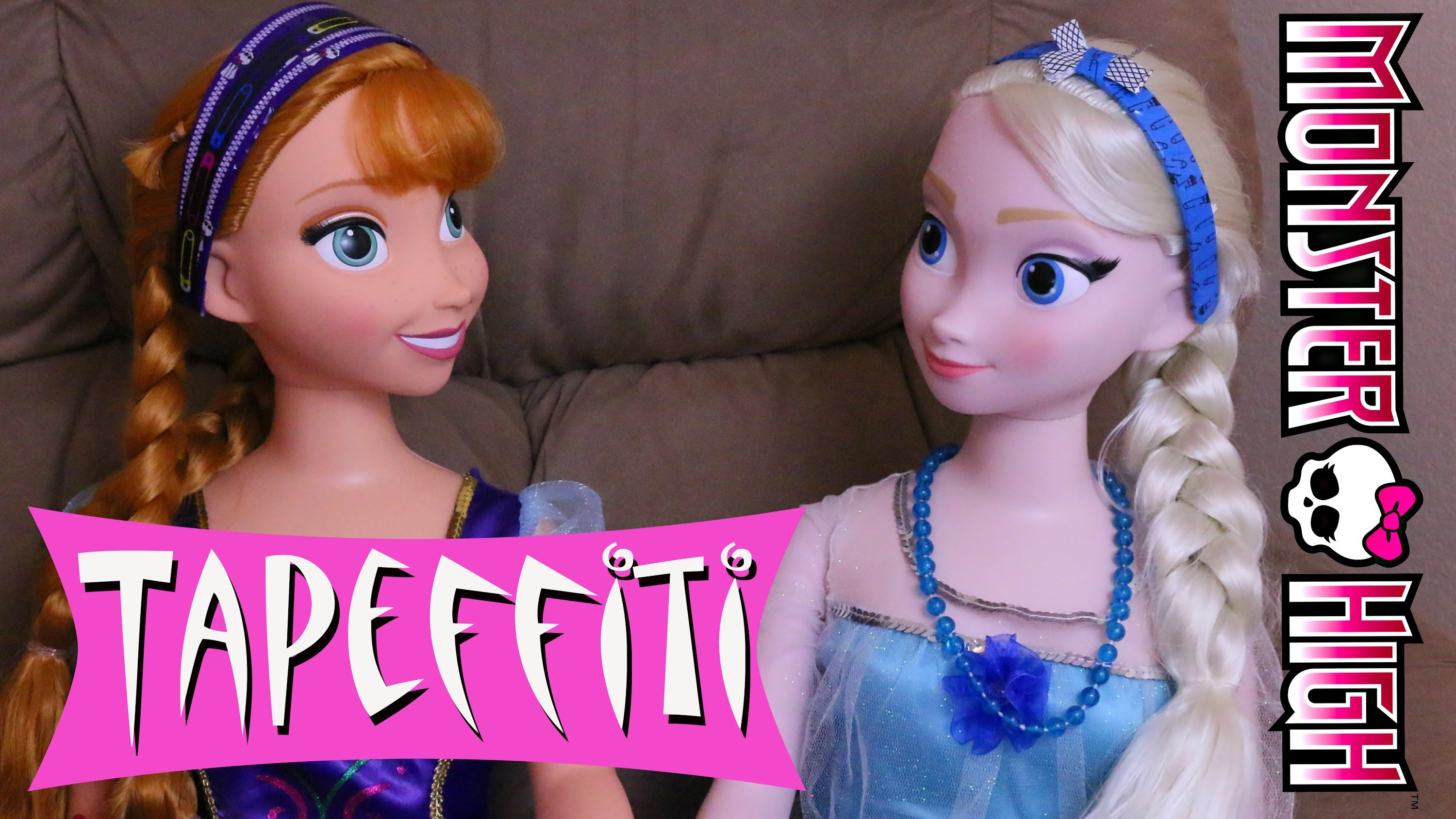 Disney Frozen My Size Elsa & Anna Dolls Makeover Monster High Tapeffiti Headbands DisneyCarToys