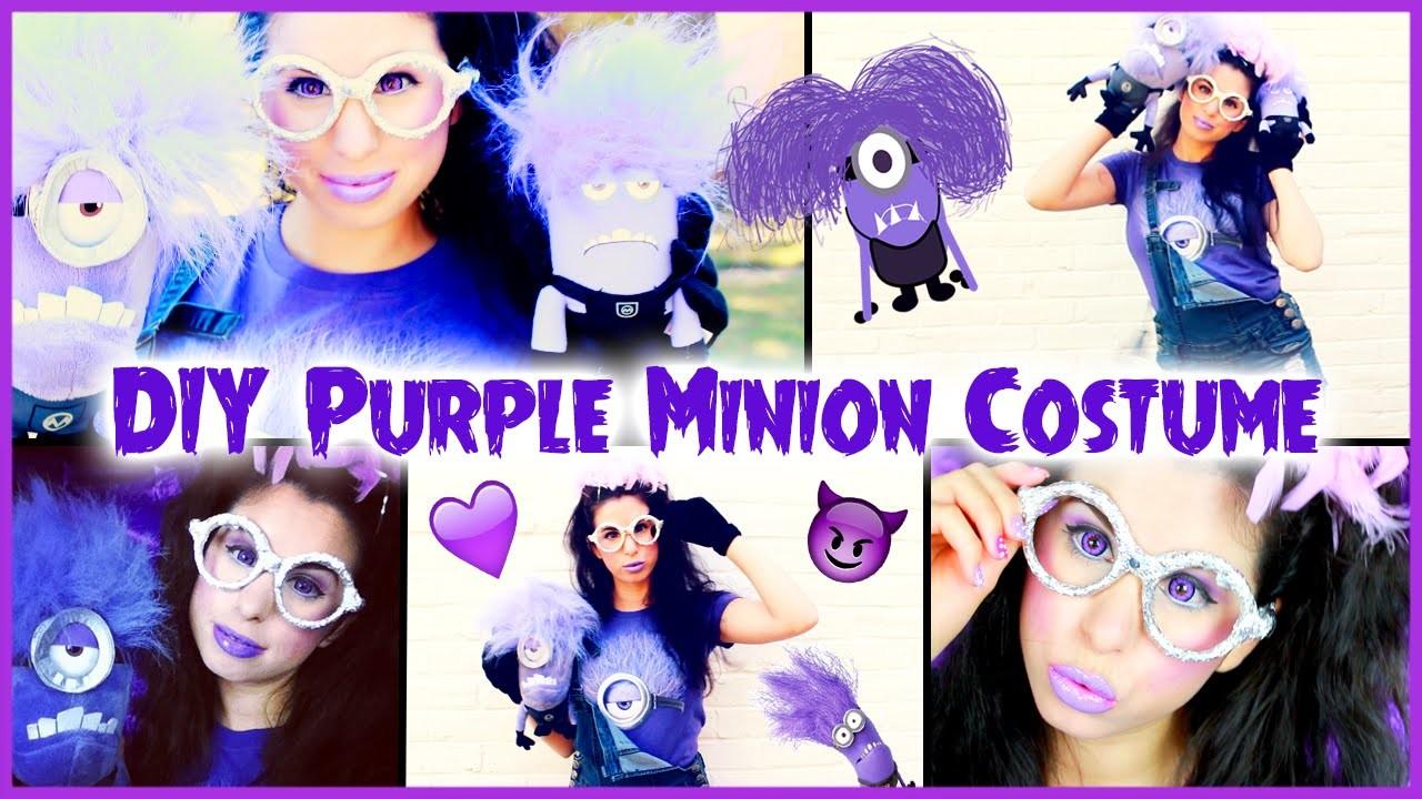 DIY Evil Purple Minion Costume, Makeup & Hair Halloween Tutorial!
