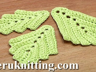 How to Crochet Two-Side Leaf Work In Back Loops Tutorial 3