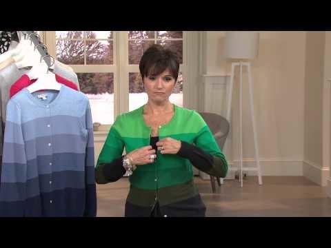 Liz Claiborne New York Long Sleeve Striped Knit Cardigan with Nancy Hornback