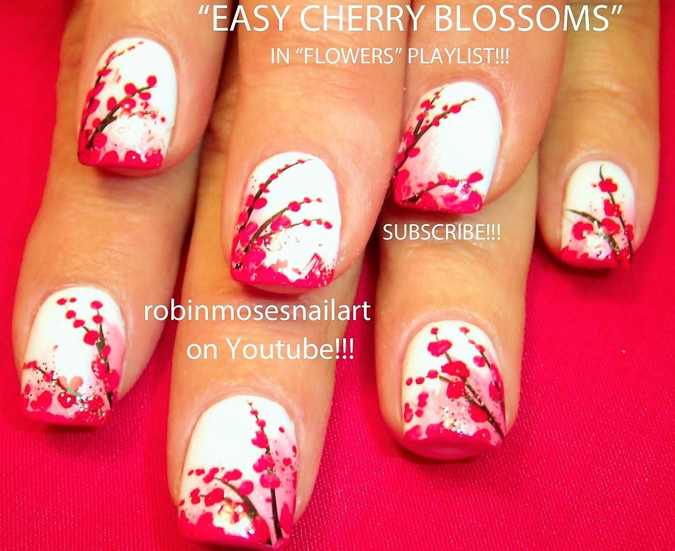 Nail Art Tutorial | Easy Cherry Blossom Nail Art Design for beginners