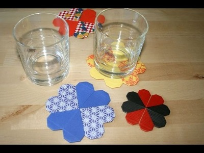 Origami tutorial - Hearts coaster