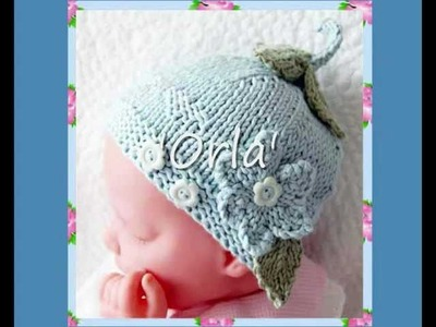 Orla Multisize Flower and Hearts Button Baby or Reborn Doll Hat Aran and DK Knitting Pattern