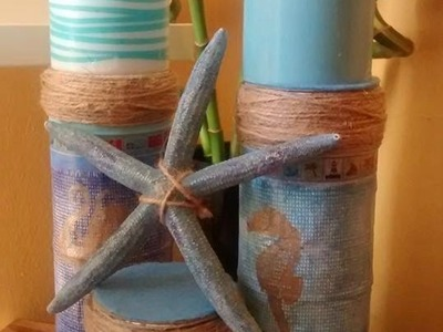 Video 2 of 5 Bin to Beauty an Upcycle series with Maymay: Tin can to candle stand nautical craft DIY