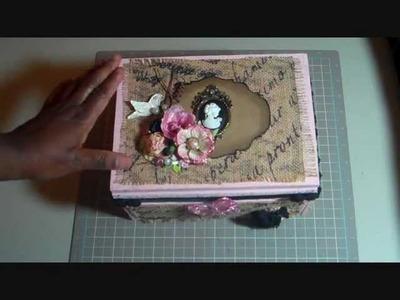 Burlap Covered Cigar Box - Craft Room Storage