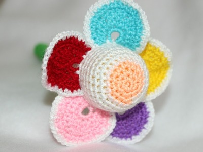 Crochet a Colorful Flower Baby Rattle - DIY Crafts - Guidecentral