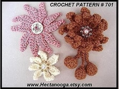 DIY crochet a multi petal flower. how to crochet a brooch or hat pin