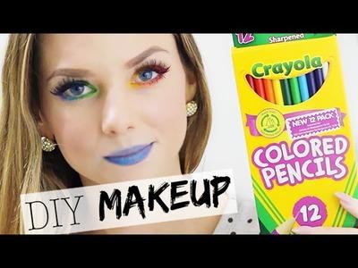 DIY Eyeliner & Lipstick with Coloured Pencils - DIY Rainbow Makeup