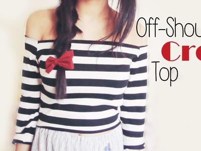 DIY ✂ Off shoulder Stripey Crop Top