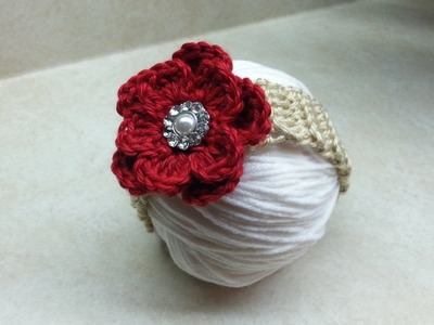 Easy to Crochet #Baby #Headband with Crochet Flower  DIY Crochet Infant tutorial