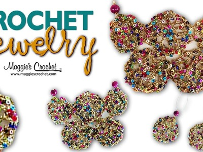 Enchant Yarn Motif Earrings & Necklace Free Crochet Pattern - Left Handed