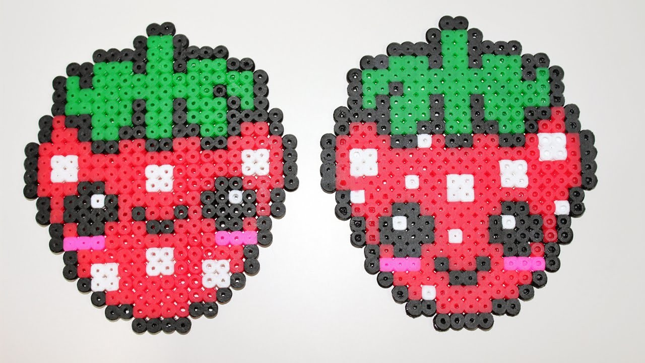 ♥ Fragola Kawaii Hama Beads. Perler beads Strawberry Tutorial ♥