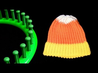 How to make a Candy Corn Beanie Hat on a Round Knitting Loom