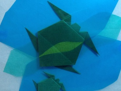 Origami Turtle and Baby in the Ocean Display Shikishi