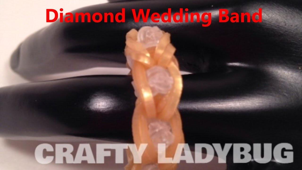Rainbow Loom DIAMOND WEDDING BAND CHARM How to Make Tutorial Crafty Ladybug