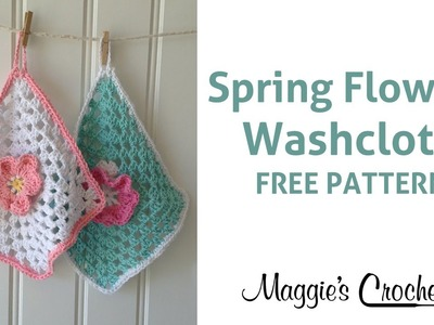 Spring Flowers Dishcloth Free Crochet Pattern - Right Handed