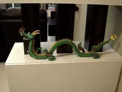 3D Modular Origami Chinese Dragon, simply made from small colour paper triangle