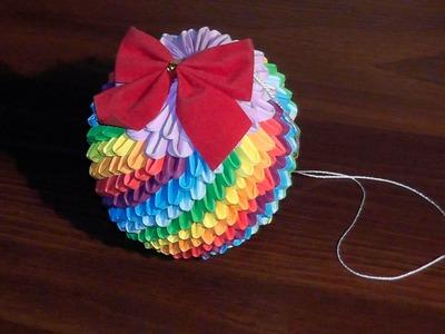3D origami Christmas bauble rainbow tutorial