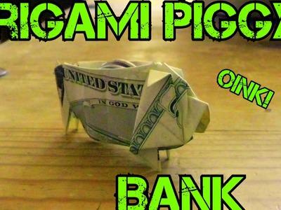 $5 Bill Origami Piggy Bank (Not a Tutorial) Vlog 2014