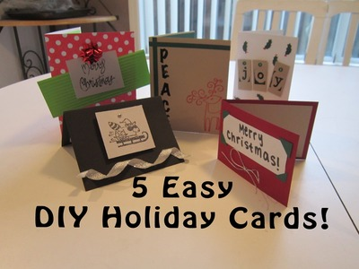 5 Easy DIY Homemade Holiday Cards! (Last Minute Holiday Gift Idea)