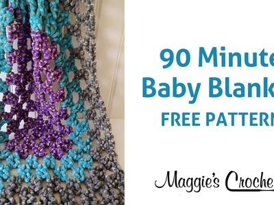 90 Minute Baby Blanket Free Crochet Pattern - Right Handed