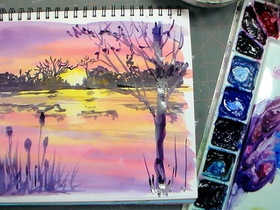 Color Mixing and Brushes for Beginners PLUS Sunset Painting Tutorial!