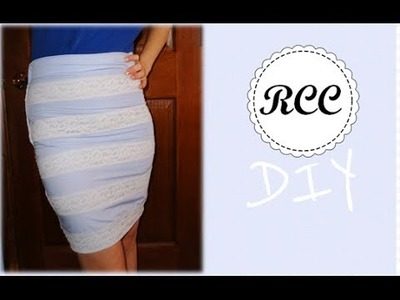 DIY Blue Lace Pencil Skirt