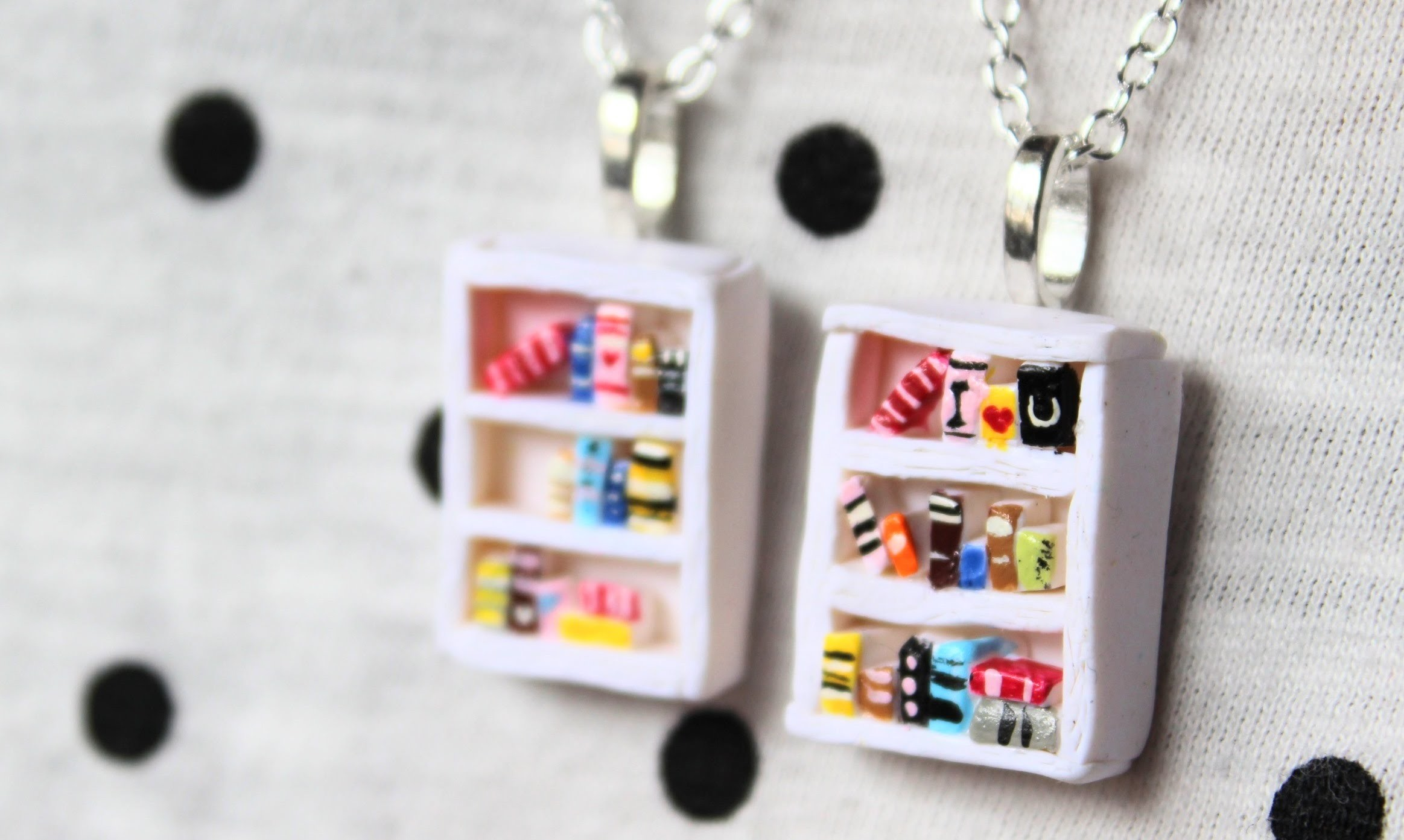 DIY: Bookshelf Necklace Polymer Clay Tutorial #EstherDay