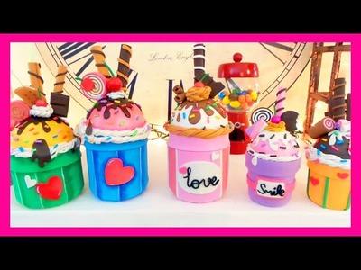 DIY crafts: how to make ice cream cupcake with EVA  foam recycled glass jars Isa ❤️