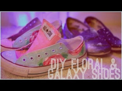 DIY galaxy and floral print shoes