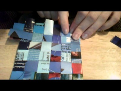 DIY How to Make Recycled Magazine Page Woven Coasters Part #2